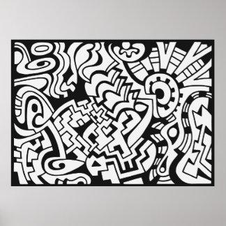 Arte blanco y negro de la calle de la pintada póster