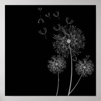 Arte blanco y negro de la flor del diente de león póster