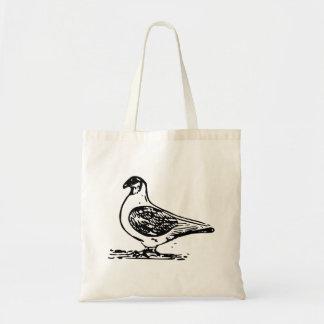 Arte blanco y negro de la paloma bolsa lienzo