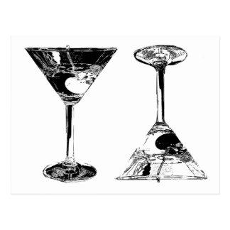 Arte blanco y negro de MartinisPop Tarjeta Postal