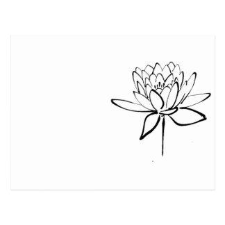 Arte blanco y negro del dibujo de la tinta de la tarjeta postal