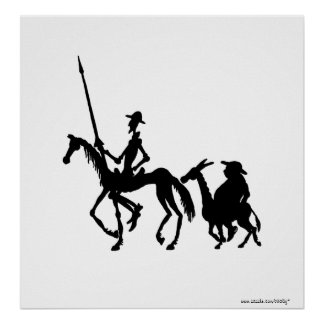 Arte blanco y negro del Don Quijote y de Sancho Pa Impresiones