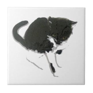 Arte blanco y negro del gato azulejo cuadrado pequeño