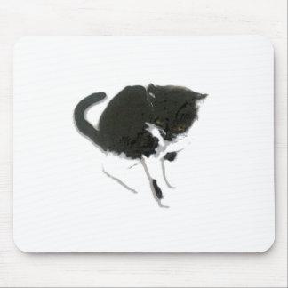 Arte blanco y negro del gato alfombrilla de ratón