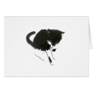 Arte blanco y negro del gato tarjeta de felicitación