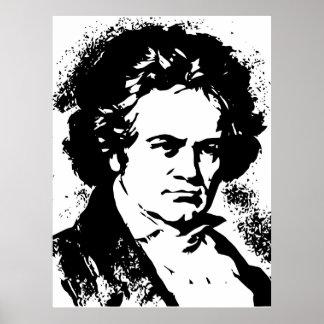 Arte blanco y negro del vector de Beethoven Póster
