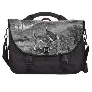 Arte blanco y negro del vintage de los beagles bolsa de ordenador