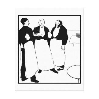 Arte blanco y negro Garçons de café Impresiones En Lona