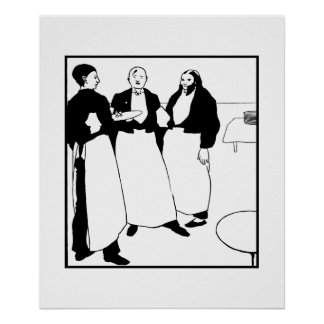 Arte blanco y negro Garçons de café Póster