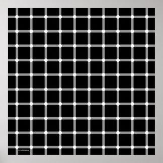 Arte blanco y negro moderno de la ilusión óptica poster