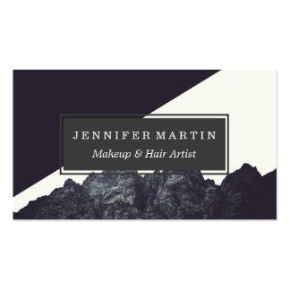 Arte blanco y negro moderno de la montaña rocosa tarjetas de visita