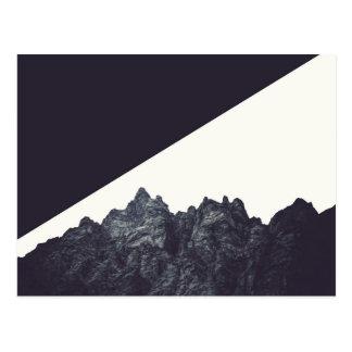 Arte blanco y negro moderno de la montaña rocosa tarjetas postales