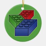 Arte - bloques de la construcción para los niños adorno navideño redondo de cerámica