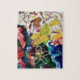 Arte bohemio artsy, abstracto rompecabeza con fotos
