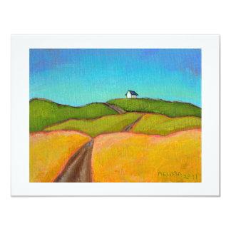 Arte bonito del paisaje poca pintura de casa de invitación 10,8 x 13,9 cm
