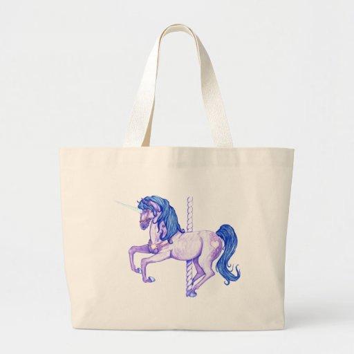 Arte bonito del unicornio del carrusel bolsa tela grande
