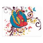 arte bonito del vector del pájaro y de las maripos postal