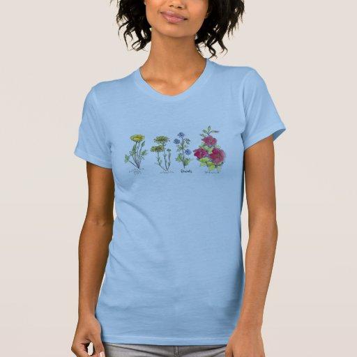 Arte botánico de la acuarela de la camiseta de la