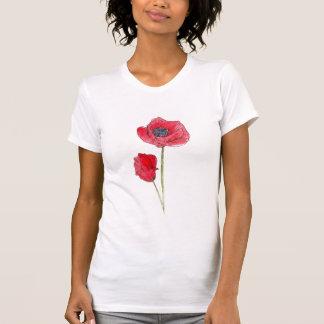 Arte botánico de la amapola de la acuarela roja de camiseta