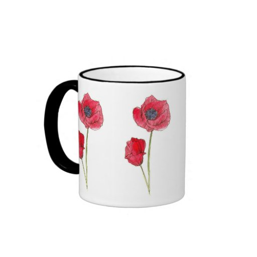 Arte botánico de la amapola de la acuarela roja de tazas de café