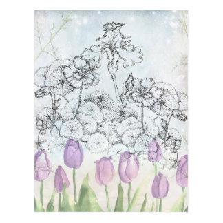 Arte botánico de la flor de la pluma y de la tinta tarjeta postal
