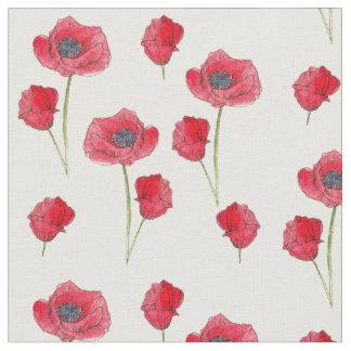 Arte botánico de las amapolas de los Wildflowers Telas
