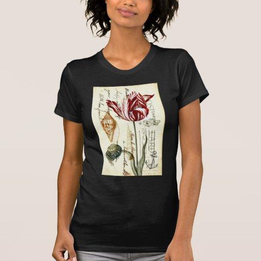 Arte botánico de los tulipanes florales elegantes camiseta