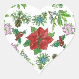 Arte botánico del Poinsettia del navidad rojo de Pegatina En Forma De Corazón