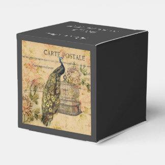 Arte botánico floral del pavo real del vintage cajas para detalles de boda