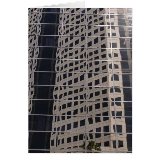 Arte brillante de la ventana del rascacielos del n tarjeta de felicitación