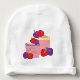 Arte brillante de las fresas y de las magdalenas gorrito para bebe