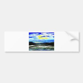 Arte brillante de los regalos del paisaje marino d etiqueta de parachoque