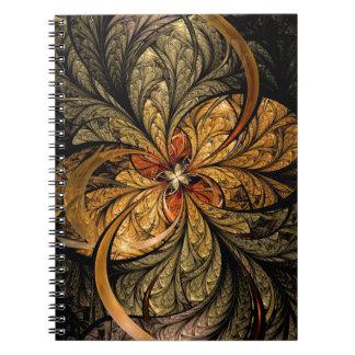 Arte brillante del fractal de las hojas note book