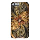 Arte brillante del fractal de las hojas funda de iPhone 6 barely there