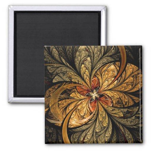 Arte brillante del fractal de las hojas imán de nevera
