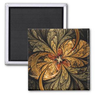 Arte brillante del fractal de las hojas imán cuadrado