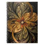 Arte brillante del fractal de las hojas libro de apuntes con espiral