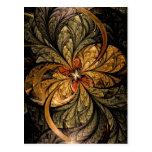 Arte brillante del fractal de las hojas postales