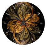 Arte brillante del fractal de las hojas reloj de pared