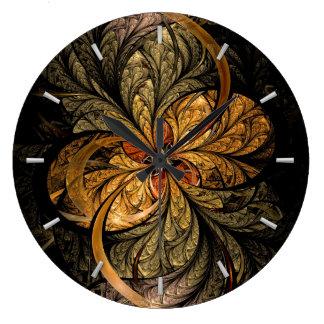Arte brillante del fractal de las hojas reloj redondo grande