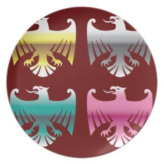 Arte brillante del vector de Eagles del cromo del Platos