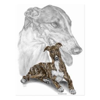 Arte Brindle del perro del galgo Tarjetas Postales