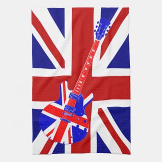 Arte británico 2 de la guitarra de Union Jack Toallas De Mano