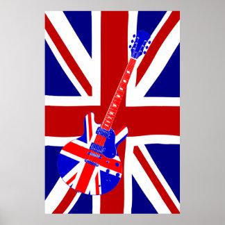 Arte británico 2 de la guitarra de Union Jack Póster