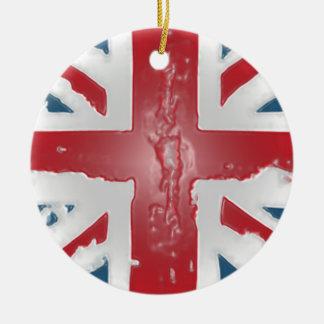 Arte británico de la cera del extracto de la adorno navideño redondo de cerámica
