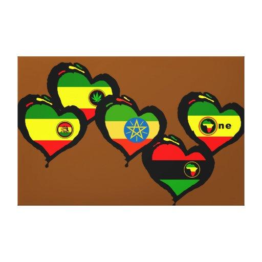 Arte Brown de la lona del corazón de Rasta V Lona Envuelta Para Galerias