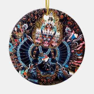 Arte budista tibetano (Chemckok Heruka) Adorno Navideño Redondo De Cerámica