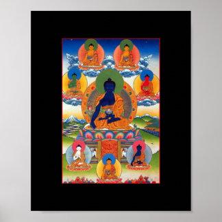 Arte budista tibetano de Buda de la medicina Póster