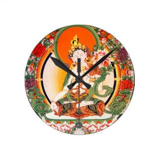 Arte budista tibetano precioso reloj redondo mediano