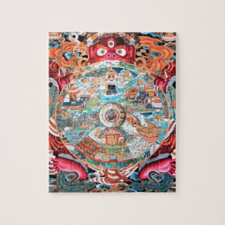 Arte budista tibetano (rueda de la vida) rompecabeza